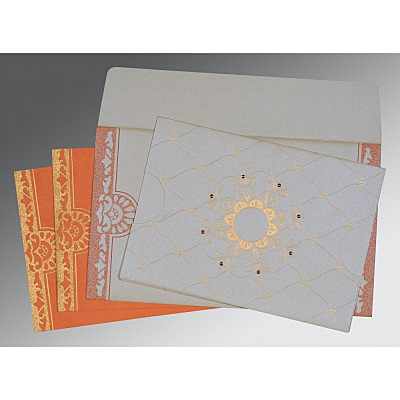 Ivory Shimmery Floral Themed - Screen Printed Wedding Card : CW-8227N - IndianWeddingCards