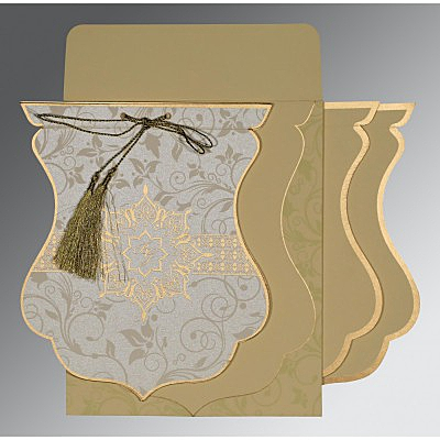 Ivory Shimmery Floral Themed - Screen Printed Wedding Card : CW-8229E - IndianWeddingCards