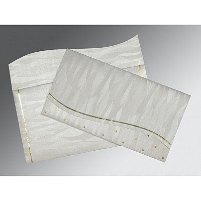 Ivory Shimmery Foil Stamped Wedding Card : CRU-1435