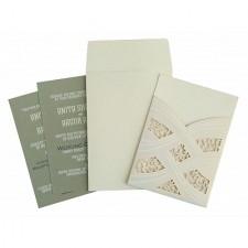 Ivory Shimmery Laser Cut Wedding Card : CRU-1590