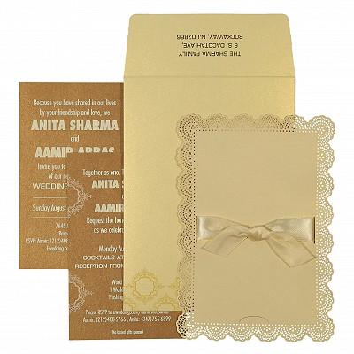Ivory Shimmery Laser Cut Wedding Invitation : CI-1588 - IndianWeddingCards