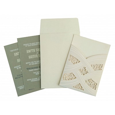 Ivory Shimmery Laser Cut Wedding Card : CIN-1590 - IndianWeddingCards