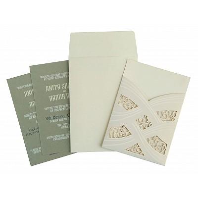 Ivory Shimmery Laser Cut Wedding Card : CW-1590 - IndianWeddingCards
