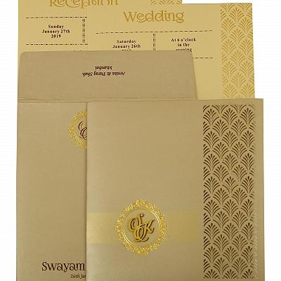 Ivory Shimmery Paisley Themed - Laser Cut Wedding Invitation : CI-1929 - IndianWeddingCards