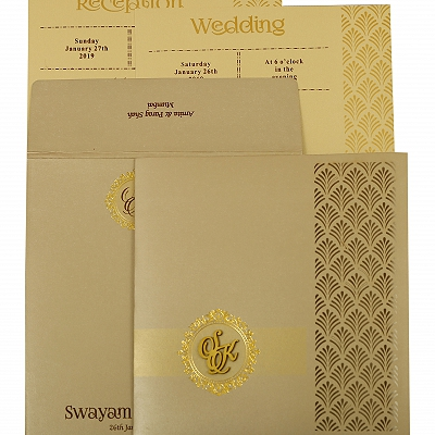 Ivory Shimmery Paisley Themed - Laser Cut Wedding Invitation : CW-1929 - IndianWeddingCards