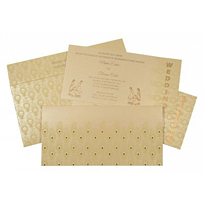 Ivory Shimmery Peacock Themed - Screen Printed Wedding Invitation : CD-8256B - IndianWeddingCards