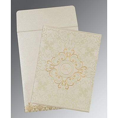 Ivory Shimmery Screen Printed Wedding Card : CC-8244B - IndianWeddingCards