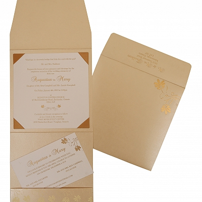 Ivory Shimmery Screen Printed Wedding Invitation : CI-803E - IndianWeddingCards