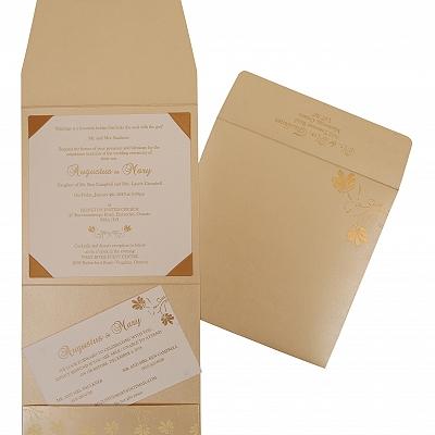 Ivory Shimmery Screen Printed Wedding Invitation : CRU-803E - IndianWeddingCards