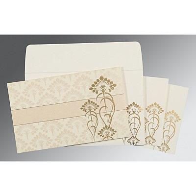 Ivory Shimmery Screen Printed Wedding Card : CSO-8239K - IndianWeddingCards
