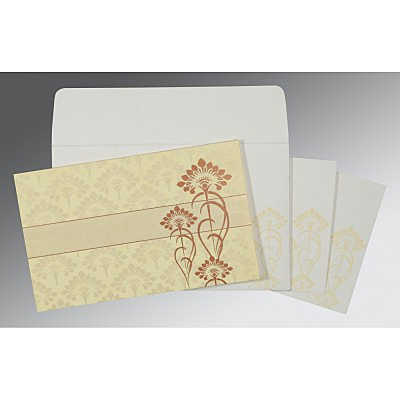 Ivory Shimmery Screen Printed Wedding Invitations : CW-8239I - IndianWeddingCards