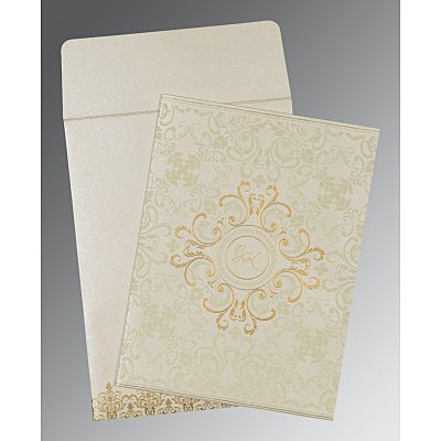 Ivory Shimmery Screen Printed Wedding Card : CW-8244B - IndianWeddingCards