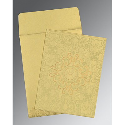 Ivory Shimmery Screen Printed Wedding Card : CW-8244J - IndianWeddingCards