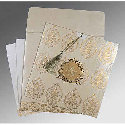 Ivory Shimmery Unique Themed - Foil Stamped Wedding Card : CC-8249B - IndianWeddingCards