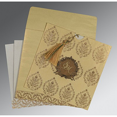 Ivory Shimmery Unique Themed - Foil Stamped Wedding Card : CD-8249G - IndianWeddingCards