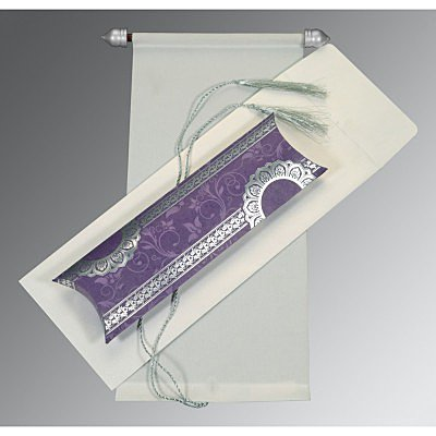 Ivory Velvet Wedding Card : CSC-5010C - IndianWeddingCards