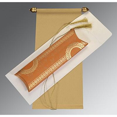 Ivory Velvet Wedding Card : CSC-5010E - IndianWeddingCards