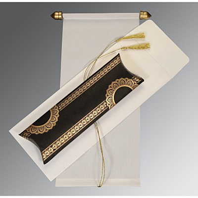 Ivory Velvet Wedding Card : CSC-5010H - IndianWeddingCards