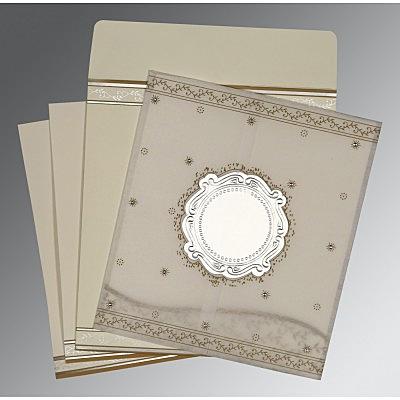Ivory Wooly Embossed Wedding Invitations : CD-8202O - IndianWeddingCards