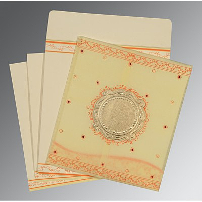 Ivory Wooly Embossed Wedding Invitations : CD-8202R - IndianWeddingCards
