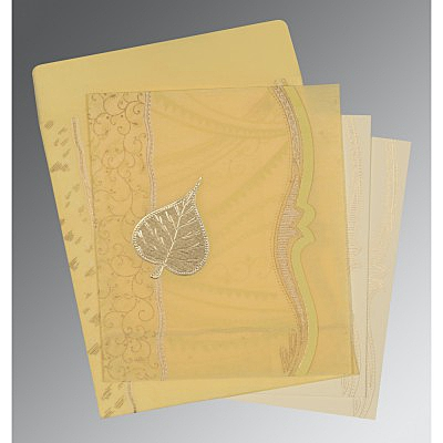 Ivory Wooly Embossed Wedding Card : CD-8210G - IndianWeddingCards