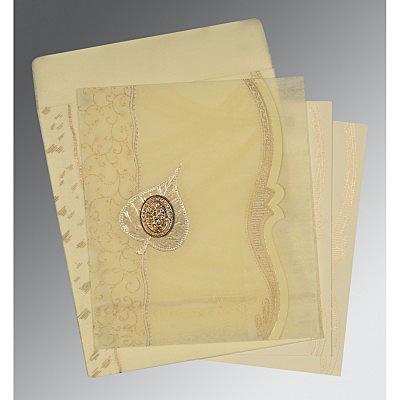 Ivory Wooly Embossed Wedding Card : CI-8210C - IndianWeddingCards