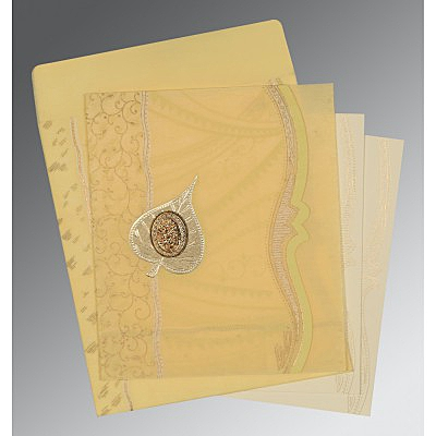 Ivory Wooly Embossed Wedding Card : CI-8210G - IndianWeddingCards