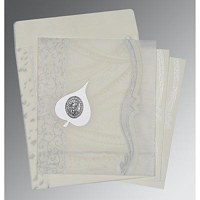 Ivory Wooly Embossed Wedding Card : CI-8210J - IndianWeddingCards
