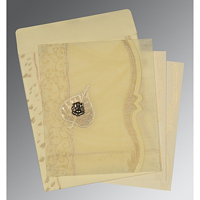 Ivory Wooly Embossed Wedding Card : CIN-8210C - IndianWeddingCards
