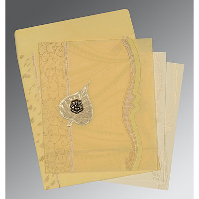 Ivory Wooly Embossed Wedding Card : CIN-8210G - IndianWeddingCards