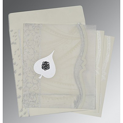 Ivory Wooly Embossed Wedding Card : CIN-8210J - IndianWeddingCards