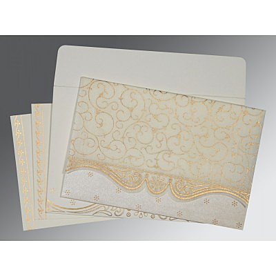Ivory Wooly Embossed Wedding Invitation : CIN-8221I - IndianWeddingCards