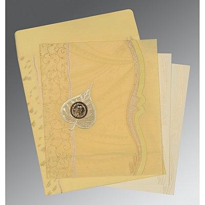Ivory Wooly Embossed Wedding Card : CRU-8210G - IndianWeddingCards