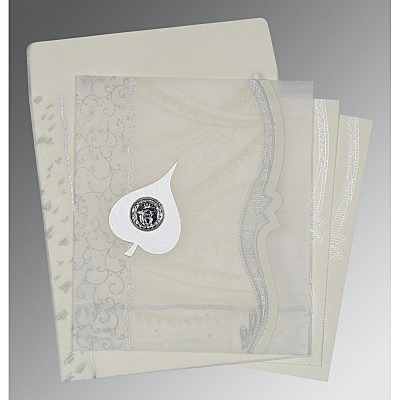 Ivory Wooly Embossed Wedding Card : CS-8210J - IndianWeddingCards