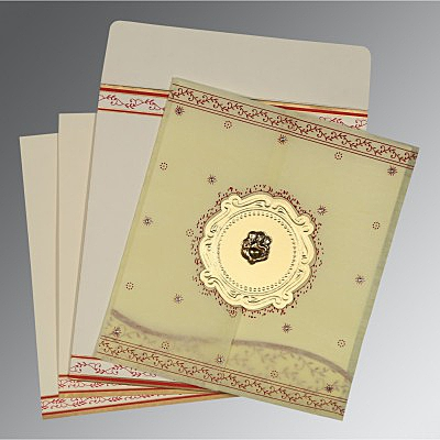 Ivory Wooly Embossed Wedding Invitation : CW-8202E - IndianWeddingCards