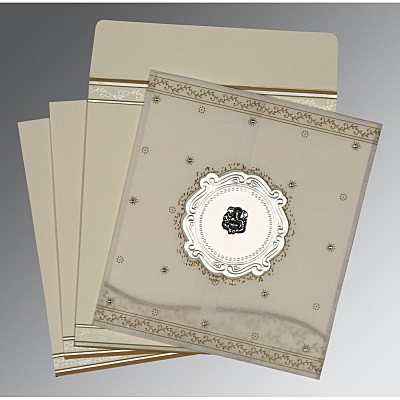 Ivory Wooly Embossed Wedding Invitation : CW-8202O - IndianWeddingCards