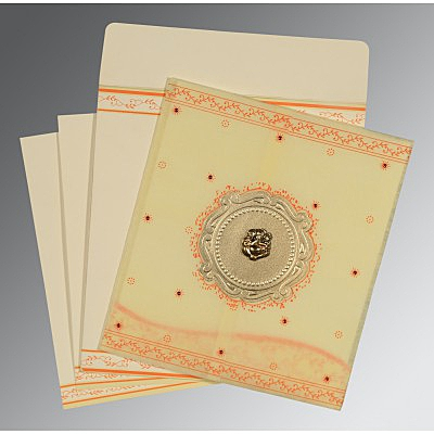 Ivory Wooly Embossed Wedding Invitations : CW-8202R - IndianWeddingCards