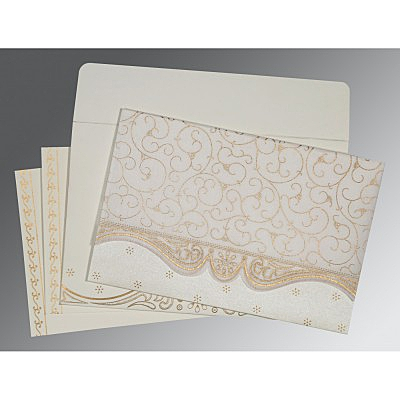 Ivory Wooly Embossed Wedding Invitation : CW-8221G - IndianWeddingCards