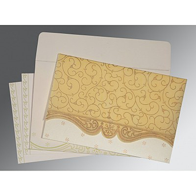 Ivory Wooly Embossed Wedding Invitation : CW-8221K - IndianWeddingCards