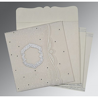 Ivory Wooly Floral Themed - Embossed Wedding Card : CD-8209N - IndianWeddingCards