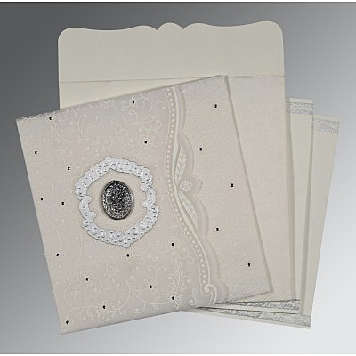 Ivory Wooly Floral Themed - Embossed Wedding Card : CI-8209N - IndianWeddingCards