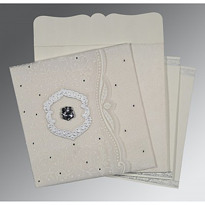 Ivory Wooly Floral Themed - Embossed Wedding Card : CW-8209N - IndianWeddingCards