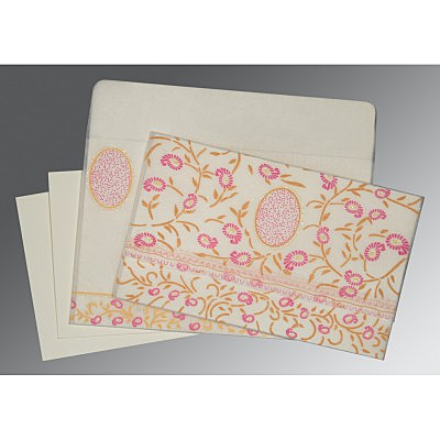 Ivory Wooly Floral Themed - Glitter Wedding Card : CD-8206F - IndianWeddingCards