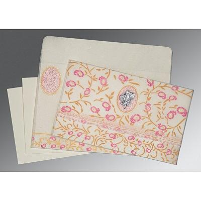 Ivory Wooly Floral Themed - Glitter Wedding Card : CI-8206F - IndianWeddingCards