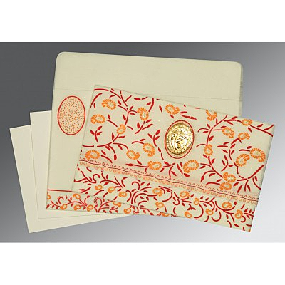Ivory Wooly Floral Themed - Glitter Wedding Card : CS-8206C - IndianWeddingCards