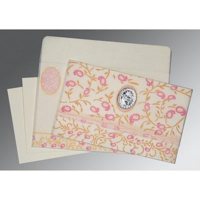 Ivory Wooly Floral Themed - Glitter Wedding Card : CS-8206F - IndianWeddingCards