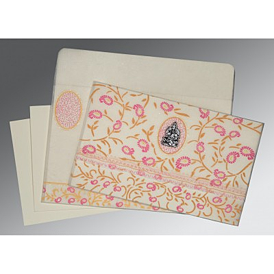 Ivory Wooly Floral Themed - Glitter Wedding Card : CW-8206F - IndianWeddingCards