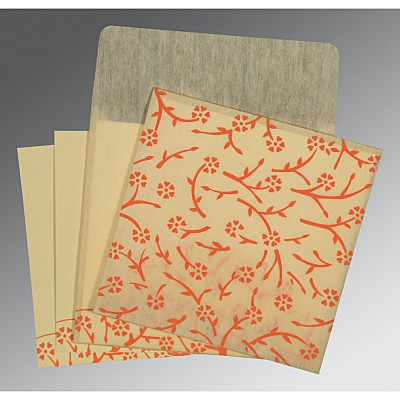 Ivory Wooly Floral Themed - Screen Printed Wedding Invitation : CI-8216C - IndianWeddingCards