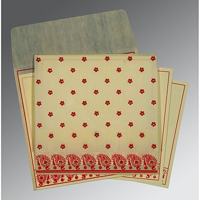 Ivory Wooly Floral Themed - Screen Printed Wedding Card : CIN-8218F - IndianWeddingCards