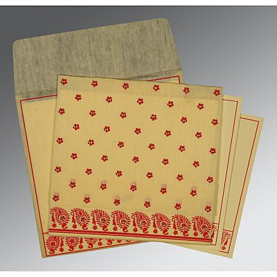 Ivory Wooly Floral Themed - Screen Printed Wedding Card : CW-8218B - IndianWeddingCards